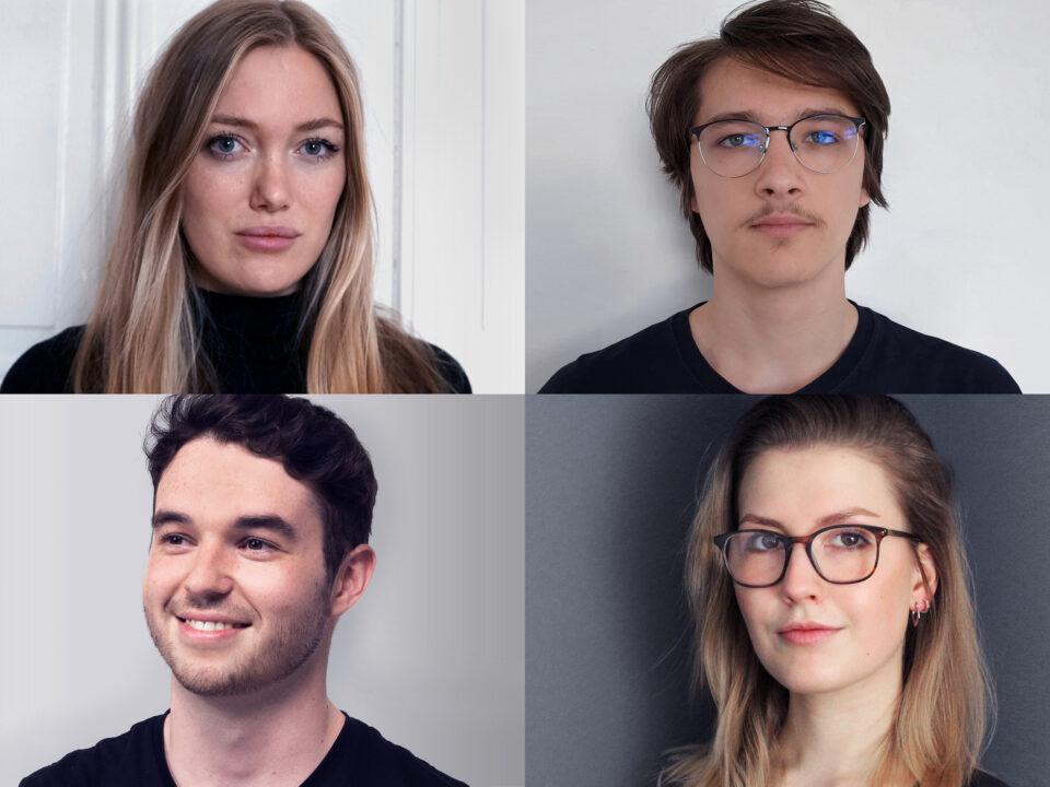 Die GestalterInnen der Website und des Logos der GfDg v.l.n.r: Miriam Zimmer, Paul Toma, Konstantin Saller, Alisha Steinbach.